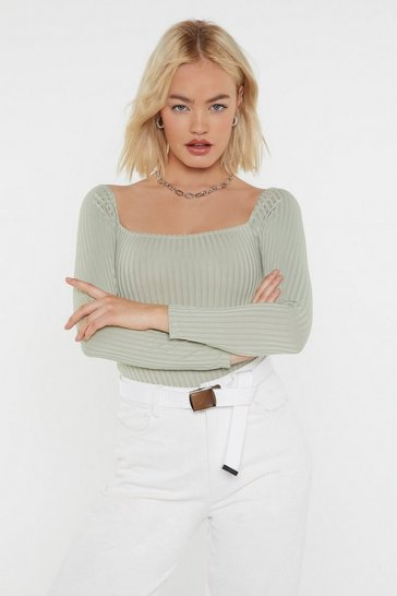 Sage Square to Me Ribbed Bodysuit