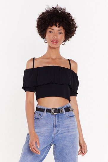 Womens Black Got Frill Power Cold Shoulder Crop Top