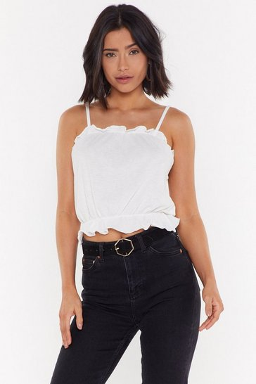 Womens White Ruffle and Ready Cami Top