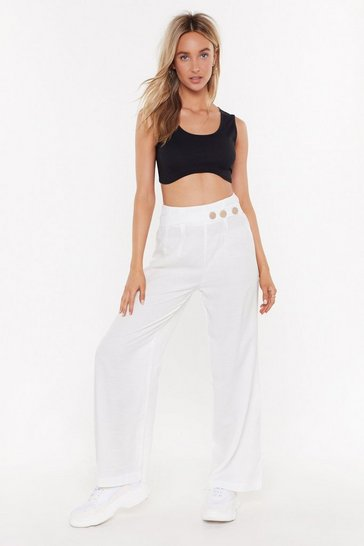 Womens White Wide Leg Trousers With Button Detail