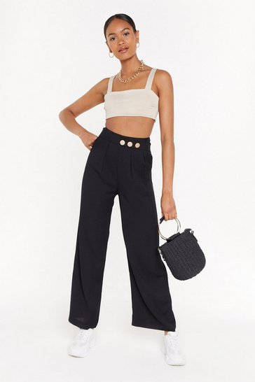 Black Girl Boss Linen Wide-Leg Pants