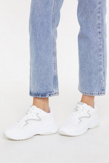 Womens White Mesh Contrast Chunky Trainer