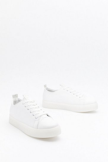 White Faux Leather Sneakers with Platform Soles