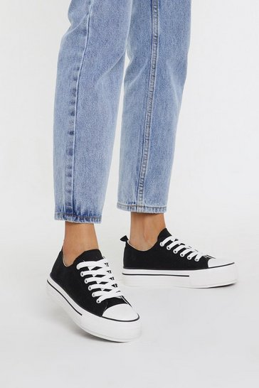 Womens Black Ground Work Canvas Trainers