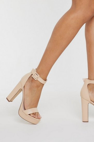 Womens Nude Sorry to Platform You Faux Leather Heels