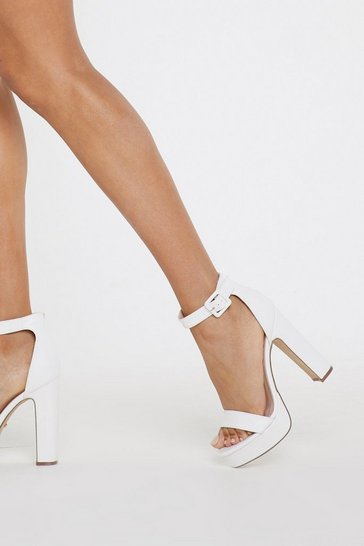 White Platform Faux Leather Heels with Platform Sole