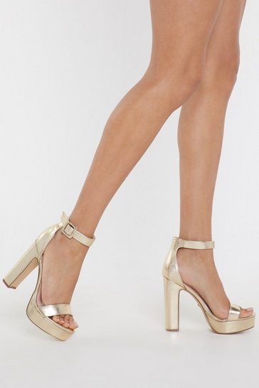 Gold PU Platform 2 Part Heels