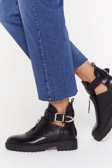 Black Kick 'Em Into Touch Faux Leather Biker Boot