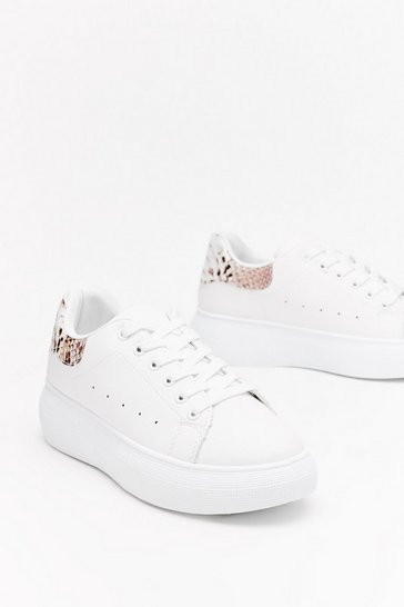 Womens White Snake Back Tab Flatform Sneakers