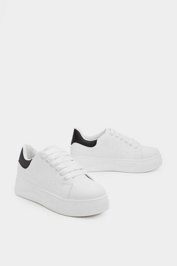 Womens White It's Up to You Platform Trainers