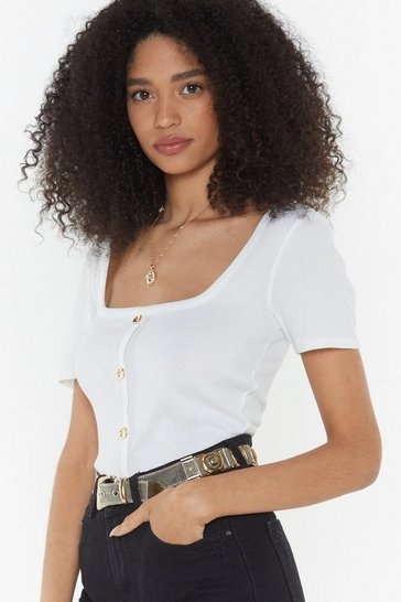 Womens White Kick Their Button Square Neck Top