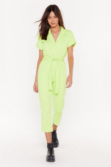 Womens Lime Belted Short Sleeve Boilersuit