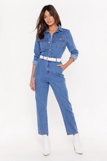 Womens Mid blue You Better Work Denim Button-Down Boilersuit