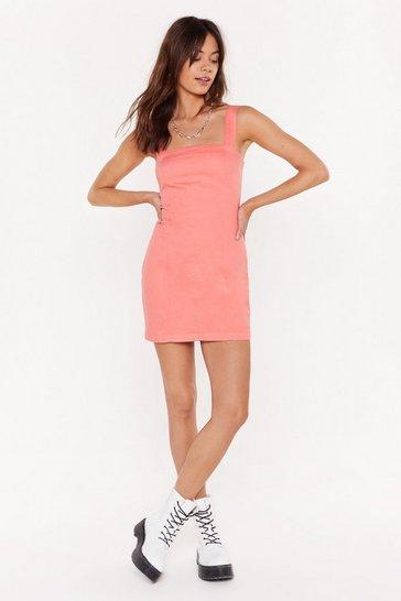 Coral Zip It Please Denim Mini Dress