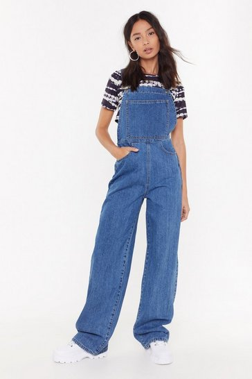 Womens Blue Wide Leg Denim Dungarees