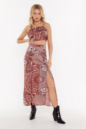 Womens Red Paisley Print Double Split Maxi Skirt