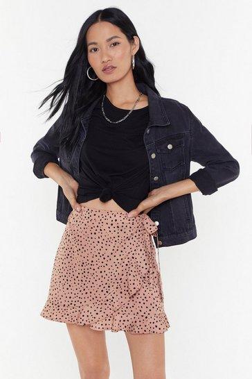3e64eb57af0d2a Mini jupe portefeuille à imprimé taches Attitude détachée