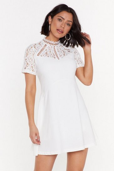 Womens White Friends in High Laces Fit & Flare Dress