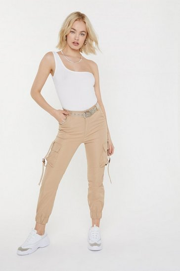 Womens Beige Just Don't Give a Cuff Utility Trousers