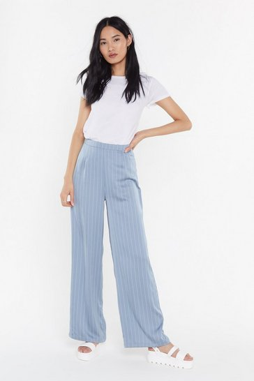 Womens Grey It's Satin-ing Pinstripe Wide-Leg Pants
