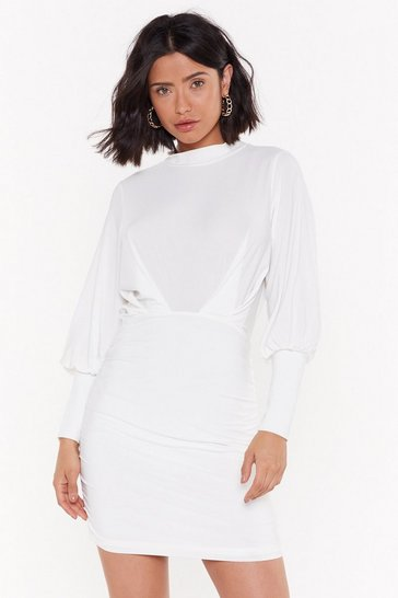 Womens White We're Never Getting Back Together Puff Mini Dress