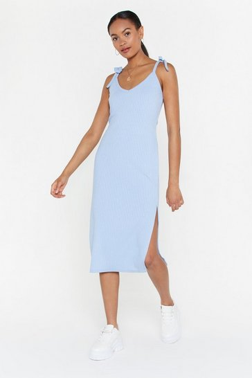 Womens Denim-blue I Tell a Tie Slit Midi Dress