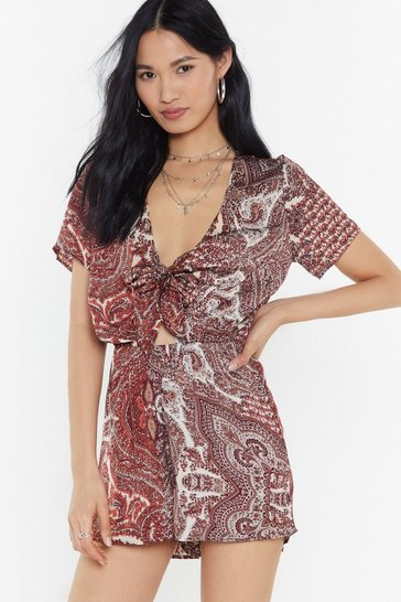 Womens Red Paisley No Attention Tie Playsuit