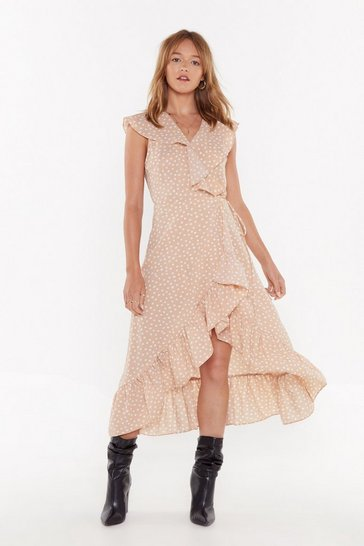 Womens Beige It's Dot Me Polka Dot Midi Dress