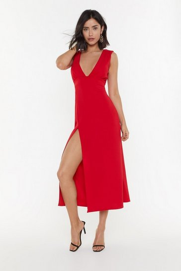 Womens Red Deep On Dancing Midi Dress