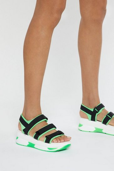Womens Green Neon It Chunky Strappy Sandals