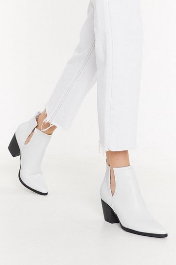 Womens White It's Notch You Cut-Out Faux Leather Boots