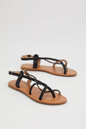 Womens Black Braid the Game Flat Sandals