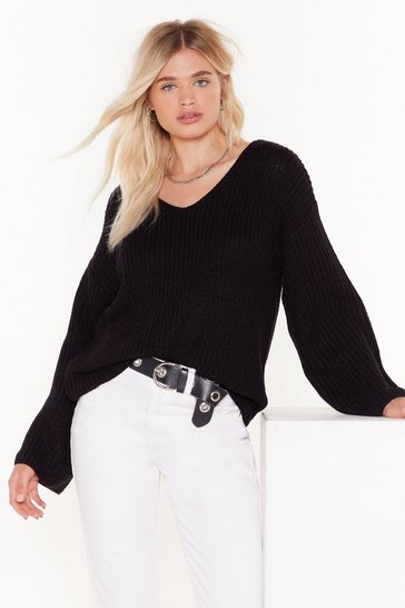 Womens Black Knit My Problem Relaxed Sweater