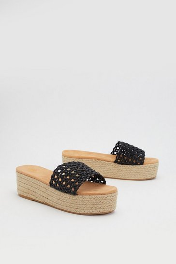 Womens Black Espadrille It Home Weave Sliders