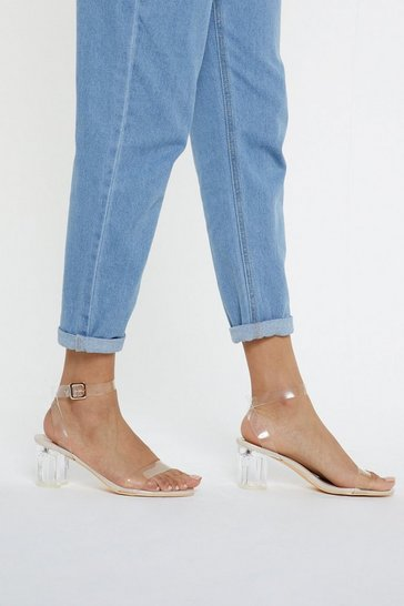 Nude Clear Low Block Heels with Buckle Closure