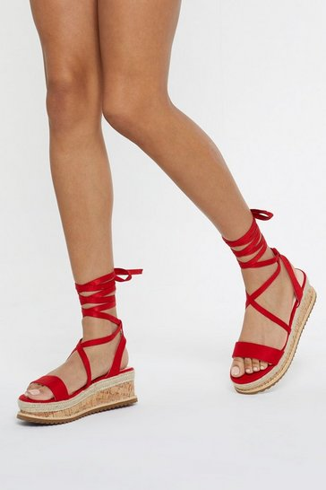 Womens Red Draw to a Close Wrap Cork Sandals