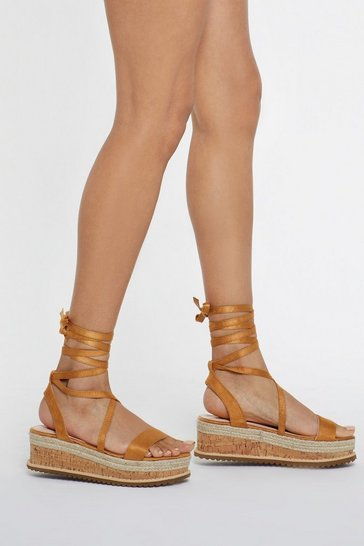 Womens Camel Pull It Together Cork Wrap Wedges