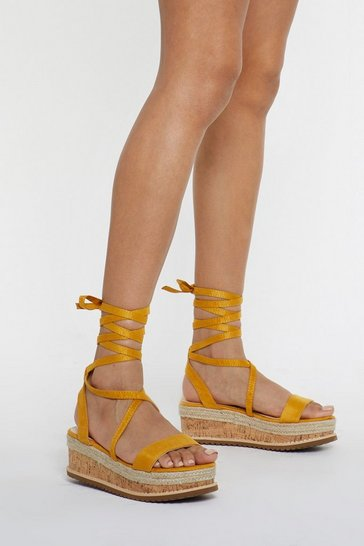 Womens Yellow Draw to a Close Wrap Cork Sandals