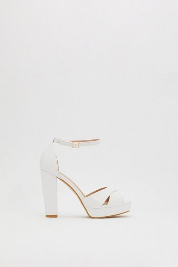 Womens White Don't Cross Me Platform Heels