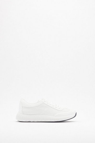 Womens White Honeycomb Sole Knit Sneaker