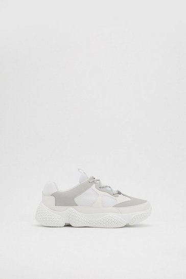 Womens White You're in Bubble Babe Chunky Trainers