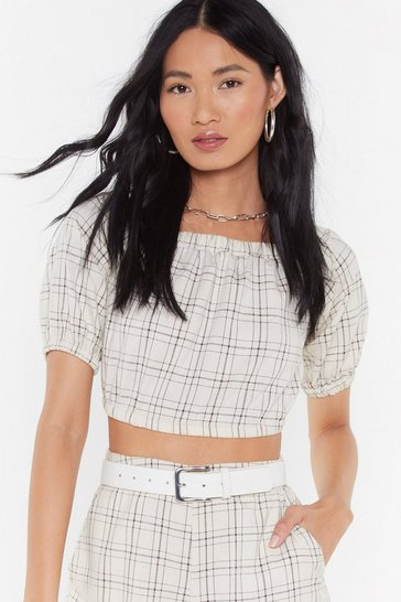 Womens Beige Check Off The Shoulder Top Co-ord