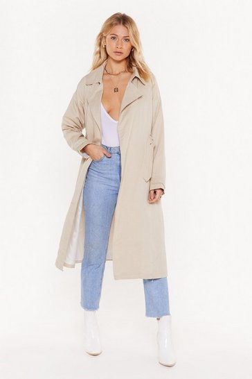 Womens Stone Save It For a Rainy Day Trench Coat