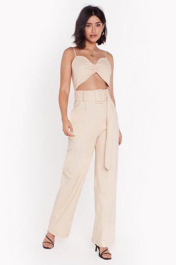 Womens Beige Thinking Cut-Out Loud Linen Jumpsuit
