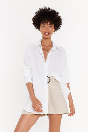 Womens White Crinkle Oversized Shirt