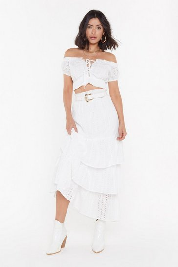 Womens White Lost in the Sun Tiered Maxi Skirt