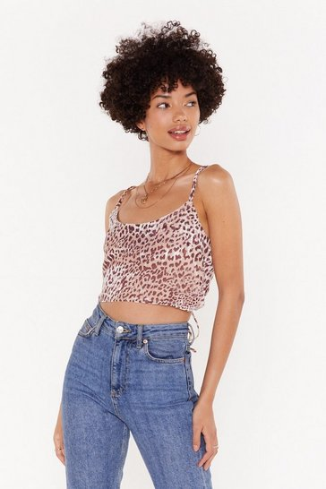 Womens Blush Give 'Em a Leopard Time Devore Crop Top