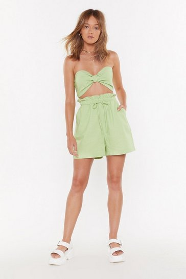 Womens Apple green City Break Linen High-Waisted Shorts