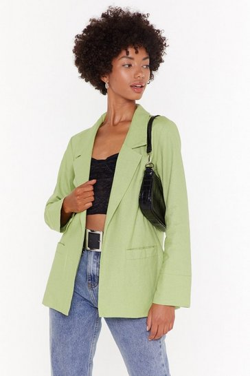 Womens Apple green Oversized Linen Blazer