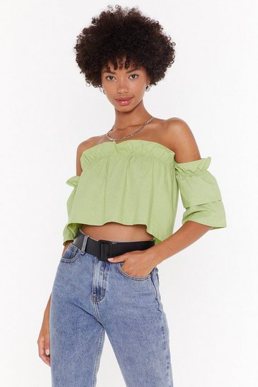 Womens Apple green Wherever You Frill Go Off-the-Shoulder Crop Top